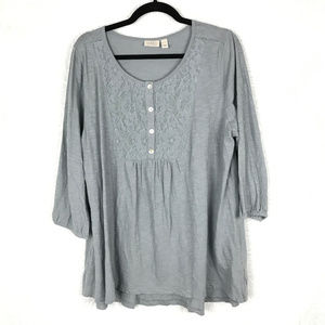 LOGO knit top with button front lace placket AC11